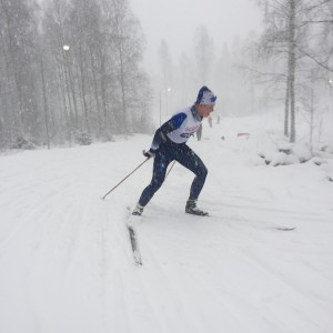 Marcus Fredriksson i ett snöigt Torsby