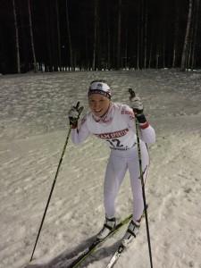Linnea pustar ut efter tävlingen.